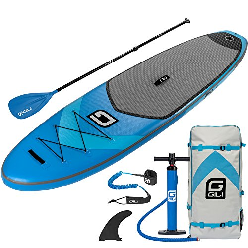 GILI 10'6 Inflatable Stand Up Paddle Board Package (10'6 Long 31'' Wide 6'' Thick): Includes Paddle, Backpack, SUP Coiled Leash & Pump by GILI Sports