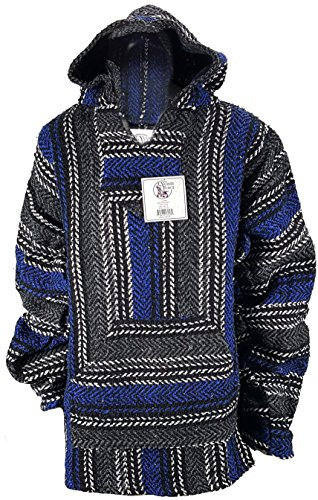 (Yankee Forge X-Large Baja Shirt - Black & Dark Blue Stripe - Woven Hoodie - Soft Brushed Inside - Unisex Pullover)
