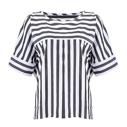 T Rayures Amuster Décontractées Noir Pour shirt Et Lâches À Femme FxqgwPdx1