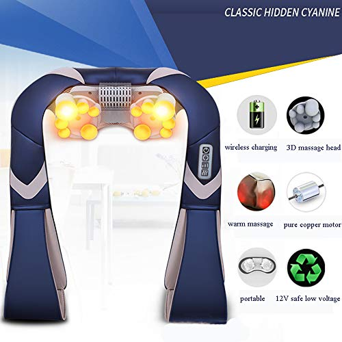 GAOQQ Shiatsu Back Neck and Shoulder Massager with Heat and Timing Function Deep Kneading Massage Shawl for Office Home Car Use by GAOQQ (Image #1)