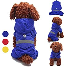 GabeFish Pet Hoody Raincoat Jacket Outdoor Waterproof Clothes Overall For Small Big Dogs With Reflective Stripe Blue Medium