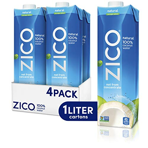 Zico Premium Natural Coconut Water Drinks, Gluten Free, 33.8 fl oz, 4 Pack (Coconut Water 100% Natural)