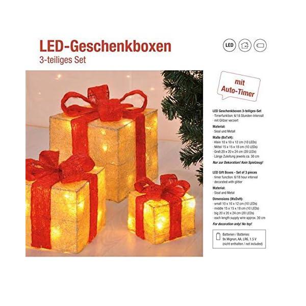 Bambelaa! Led Decorazione Light Gift Boxes - Set di 3 incl. Funzione Timer - Decorazione natalizia Decorazione natalizia Decorazione di Natale Illuminazione (Giallo) 7 spesavip