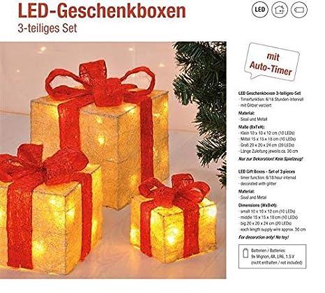Funzione Timer Decorazione natalizia Decorazione natalizia Decorazione di Natale Illuminazione Led Decorazione Light Gift Boxes Bambelaa Rosso Set di 3 incl