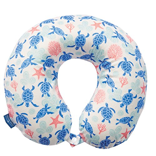 Bon Voyage Beach Themed Memory Foam Travel Neck Pillow | Flamingo | Mermaid Tail | Midnight Jungle| Pineapple | Sea Life | Shell | Starfish | Turtle | Water (Turtle White)
