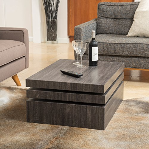 Haring square rotating wood coffee table cool kitchen gifts for Rotating dining table