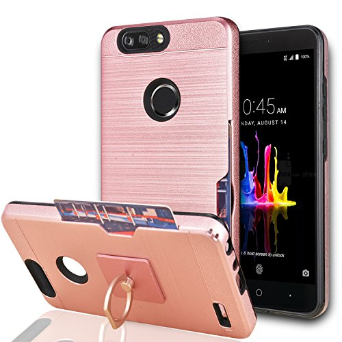 YmhxcY for ZTE Blade Z Max/ZTE Blade Zmax Pro 2/ ZTE Sequoia Case with Phone Stand,[Credit Card Slots Holder][Brushed Texture] Hybrid Dual Layer Shockproof Protective Cover for ZTE Z982-LCK Rose Gold (Zte Zmax Credit Card Phone Case)