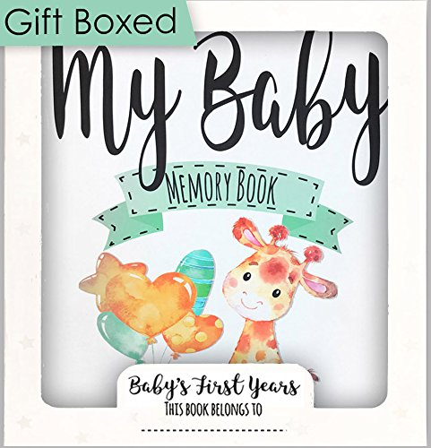 Baby Memory Book, Baby Journal, Baby Record Book 0-3 Years, Unisex Design, Best New Baby Gift or Baby Shower Gift, 54 Pages Plus Keepsake Envelope, with Gift Box (Ready to give) by Ocean Drop Designs from Ocean Drop Designs