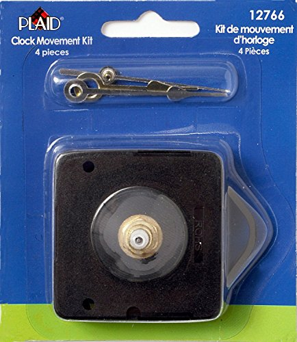 Price comparison product image (Ship From USA) Plaid 12766 4-Piece Clock Movement Kit / Great for repairing,  replacing,  or making a clock, Quartz operated movement, Requires an AA battery (not included), Shaft is 1 / 2-Inch from moveme