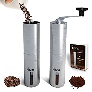 Orvite Ceramic Burr Manual Coffee Grinder - Portable Stainless Steel Conical Coffee Mill with Hand Crank - Aeropress & Espresso Compatible