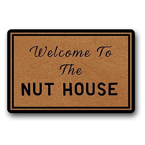 FeRd Funy Doormat Entrance Mat - Welcome To The Nut House - Indoor Outdoor Decoration Door Mat 30 x18 Inch