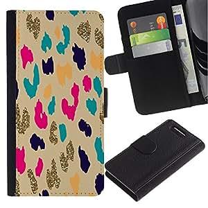 For Sony Xperia Z1 Compact D5503 Case , Gold Leopard Animal Pattern Cheetah - la tarjeta de Crédito Slots PU Funda de cuero Monedero caso cubierta de piel