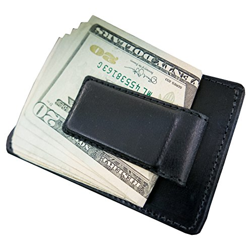 Hanks Leather Money Clip Front Pocket Wallet with Credit Card Holder  USA MADE - Black