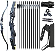 """Vogbel 52"""" Bow and Arrow for Adults Archery Recurve Bow Takedown Survival Bow Archery Set Hunting Longbow"""
