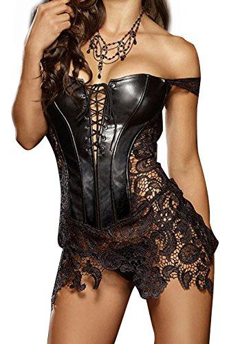 S Pelle Nero di Vestito Oversize Overbust 6XL Corsetto corpetto Nero delle Donna fzwqTT
