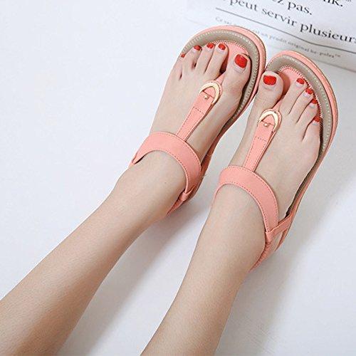 Minetom Femmes Mode T-Strap Boucle Sandales Sexy Clip Toe Flip Flops Tongs Été Voyage Plage Plates Chaussures Rose ETdD61e
