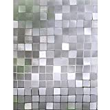 Bloss Window Film Premium No-Glue 3D Privacy Square Pattern Static Cling Glass Window Film for Home Kitchen Living Room Office 17.7-inch x 78.7-inch