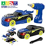 Maxxrace Take Apart Racing Car, STEM Toys 26 Pieces Assembly Car Toys with Drill Tool, Lights and Sounds, Gifts for Kids Aged 3+