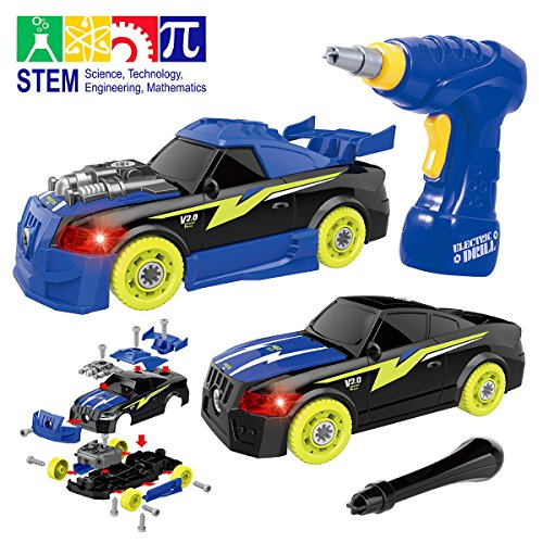 GILOBABY Take Apart Racing Car, STEM Toys 26 Pieces Assembly Car Toys with Drill Tool, Lights and So - http://coolthings.us