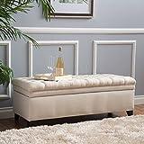 Laguna Living Room Furniture ~ Tufted Fabric Storage Ottoman (Beige)