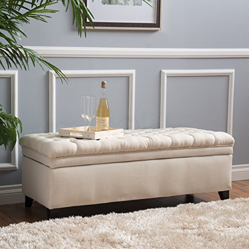 Laguna Living Room Furniture ~ Tufted Fabric Storage Ottoman (Beige) (Tufted Ottoman Storage)