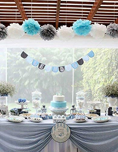 First Birthday Boy Decorations Baby Blue White Grey Party Tissue Paper