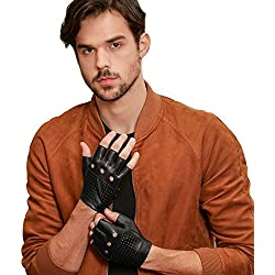 GSG Punk Studs Driving Cycling Leather Gloves Motorcycle Fingerless Gloves Mens Half Finger Hip Hop Gloves Black 11