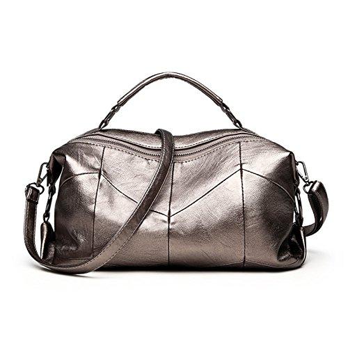 - Autumn And Winter New Soft Leather Handbag Boston Portable Wild Large-capacity Shoulder Bag Shoulder Slung Big Bag,Metallic-331712cm