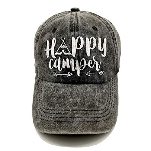 LOKIDVE Happy Camper Baseball Hat Embroidered Washed Cotton Cap for Women Men
