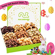 Easter Gift Basket For Family, Candy Filled Eggs & Bunny, Gourmet Nut Tray (9 Section) - Healthy Food Edible Arrangement Platter - Snack Box For Adults, Women, Men, Kids, Boys, Girls - Prime Delivery