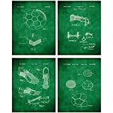 TheNameStore Soccer Patent Print Wall Art - Set of Four Fine Art Photos 8x10 Unframed - Great Gift for Soccer Player Decor (Olive)