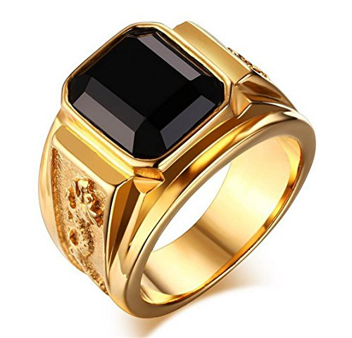 PSRINGS 18K Gold Plated Titanium Ring Black Square Agate Ring 3D Dragon 316L Stainess Steel Ring - Black Mall Square Friday Emerald