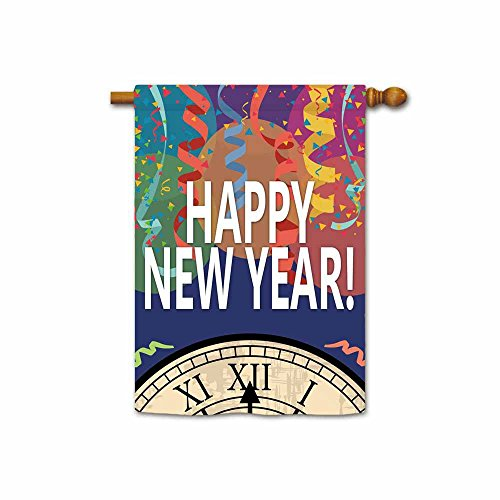 KafePross Happy New Year Bell and Ribbon Decorative House Flag 28