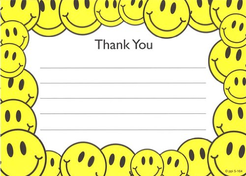 Kids Smiley Face Thank You Cards, Fill-In Style, 8 Pack