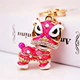 Wanrane Women's Supplies Modern Stylish Pendant Chinese Style Kirin Pendant Metal Keyring Purse Hand Bag Keychain Gift (Pink)