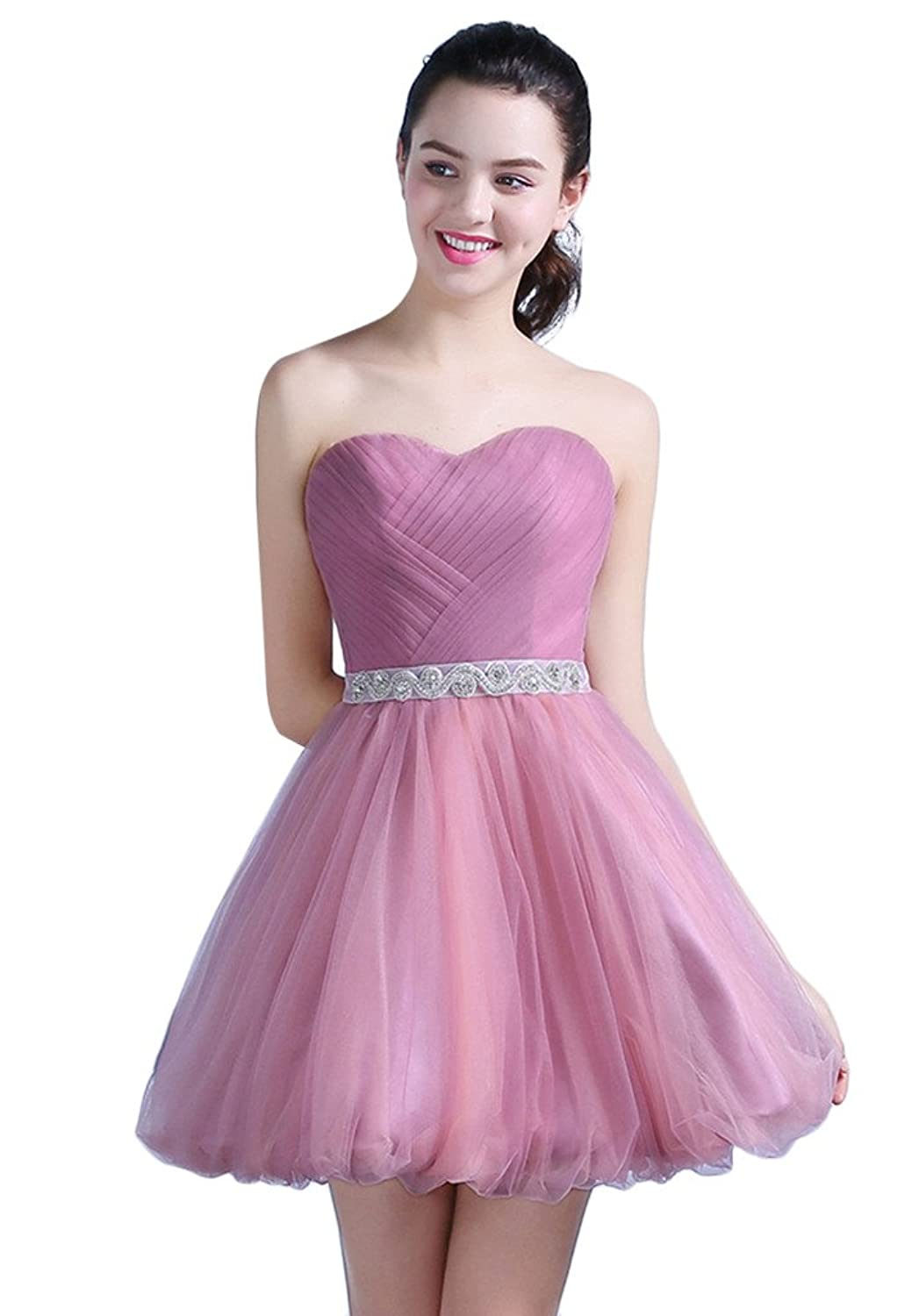 Vimans? Girl's Short Pink Pleated Sweetheart Gowns with Beads for Cocktail