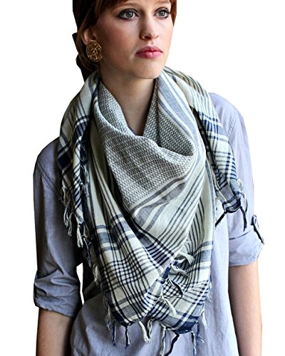 Anika Dali Women's Addison Shemagh Tactical Desert Scarf in Natural Cotton (India Scarf In Made)