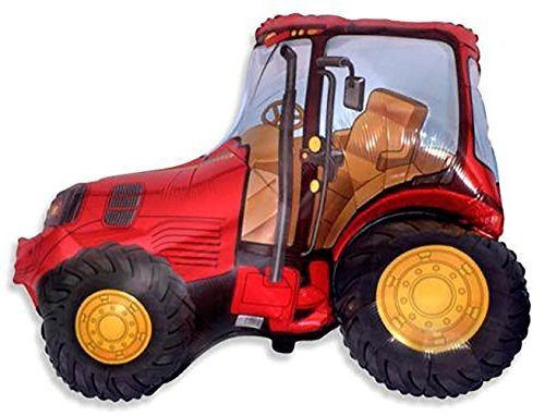 """Tractor Design - Custom, Fun & Cool {XXL Massive Huge Size 37"""" Inches - 3.08 Feet} 1 Unit of Helium & Air Inflatable Mylar Aluminum Foil Balloon w/ Construction Vehicles Tractor Design [in Bright Red, Yellow & Black]"""
