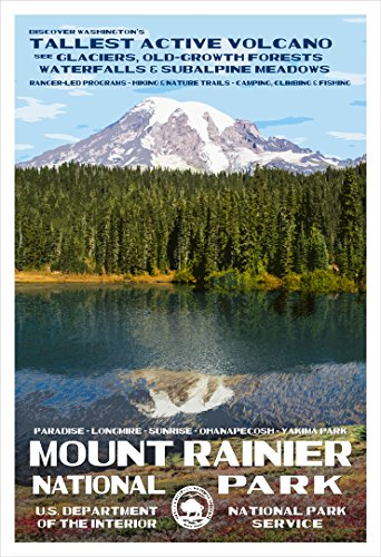 Mount Rainier National Park Poster - Original Artwork by Rob Decker - Wpa Style
