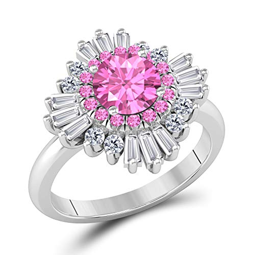 (Vintage Inspired 1 3/4 Ct Round and Baguette Pink Sapphire and White Cubic Zirconia Halo Engagement Cluster Ring)