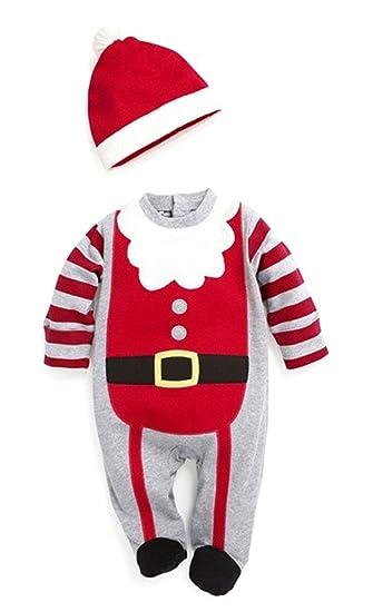 e600fdf3a3d3 Amazon.com  Baby Boy Christmas Romper + Hat Santa New Year Jumpsuit ...