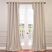Half Price Drapes PTCH-BO130907-96-GR Grommet Blackout Faux Silk Taffeta Curtain, Antique Beige
