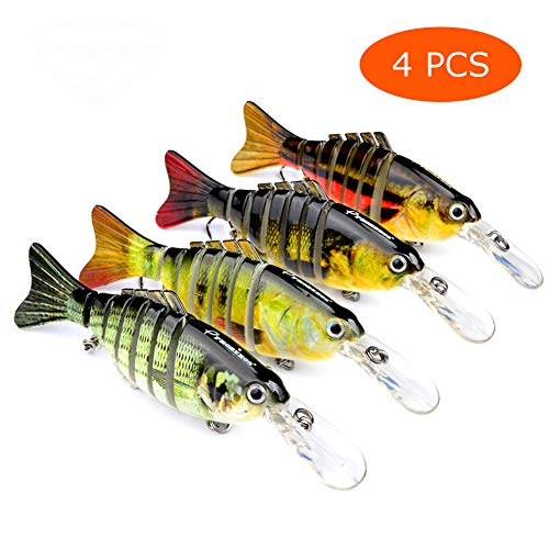 Juemenzhe Fishing Bass Lures Multi Jointed Life-Like Trout Swimbait 4PCS Running Depth 4-12 feet