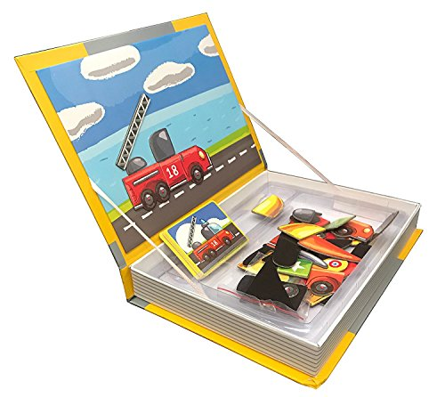 Amazing Magnetic Puzzle Book, Best Transportation Themed Jigsaw for Kids, Educational and Creative Toy for Toddlers, Set of 50 Mix & Match Dress up Accessories for Boys and Girls, Ages 3+