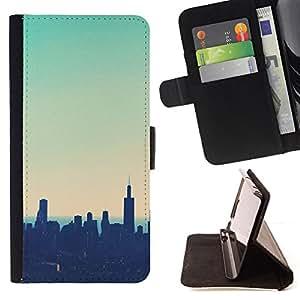 - Queen Pattern FOR Apple Iphone 6 PLUS 5.5 /La identificaci????n del cr????dito ranuras para tarjetas tir????n de la caja Cartera de cuero cubie - skyline city NYC new york teal