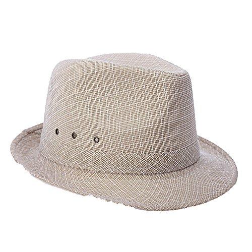 (Hat Men's Middle-Aged and Elderly Spring Summer British Linen Sunshade Outdoor Sun Hat,Camel,Haha)