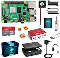 LABISTS Raspberry Pi 4 Model B 4GB RAM Starter Kit, RPi Barebone con MicroSD 32GB, Tipo C Alimentatore 5.1V 3A, Ventola,...