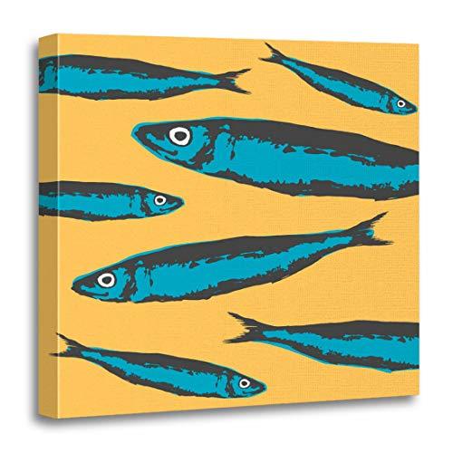 (Emvency Canvas Wall Art Print Retro of Portuguese Sardines Funny to Ads Sardina Pilchardus Artwork for Home Decor 12 x 12 Inches)
