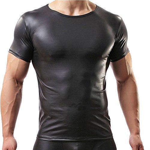 YiZYiF Men's Leather Like Underwear Short Sleeve T-Shirt Undershirt Lingerie Top -