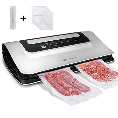Packaging Machine (MYCARBON Vacuum Sealer Machine,Automatic Vacuum Sealing System for Food Saver,Multi Function Sealer Vacuum Packaging Machine for Dry&Moist Food Preservation with Starter Kits Built-in Cutters-Silver)